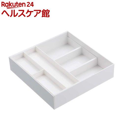 伸縮&スライドカトラリートレー プレート ホワイト(1コ入)【山崎実業】