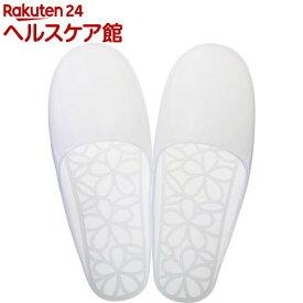 マーナ ウォーターカラー バススリッパ フラワー ホワイト Mサイズ W248W(1足)【マーナ】