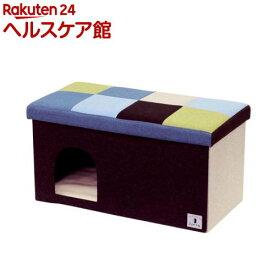 ペティオ Porta ドッグハウス&スツール ブルーモザイク ワイド(1コ入)【ペティオ(Petio)】