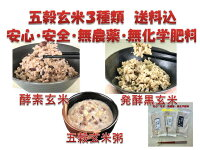 発酵玄米3種類!お試しセット安心安全無農薬無化学肥料健康無添加低温熟成高温殺菌玄米酵素玄米