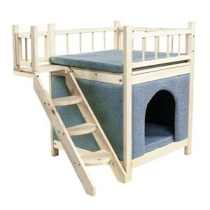 猫用ハウス 階段付 木製 キャットハウス 2階建 ブルー ZMR-190