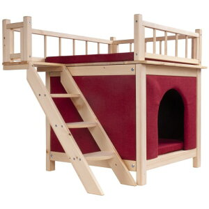 猫用ハウス 階段付 木製 キャットハウス 2階建て ペット用 レッド ZMR-191