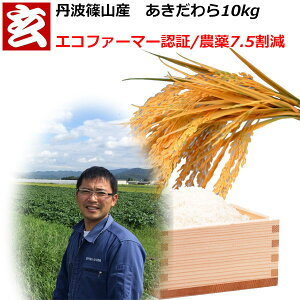 農薬7.5割減 1等米 あきだわら玄米 10kg 送料無料 産年:令和1年 産地:丹波篠山産 生産者:田渕信也 ※精米選べます