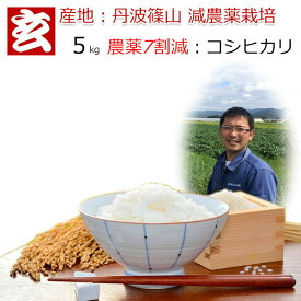 玄米 5kg 送料無料 農薬7割減栽培 1等米 コシヒカリ 丹波 篠山産 減農薬米 産年:令和元年 生産者:田渕真也※精米選べます