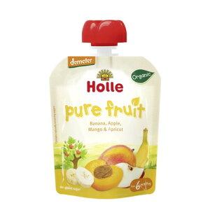 有機 バナナ&アップル&マンゴ&アプリコット(パウチ)100g 【Holle Baby Food】