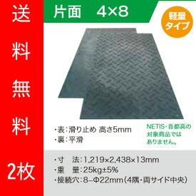 【(株)ウッドプラスチックテクノロジー】軽量樹脂製敷板 Wボード 4尺×8尺 2枚 [1219×2438ミリ] 片面凸 色:黒 (固定穴8か所)