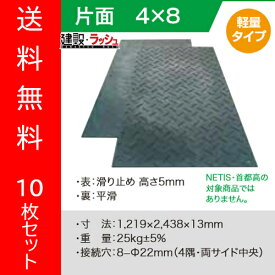 【(株)ウッドプラスチックテクノロジー】軽量樹脂製敷板 Wボード 4尺×8尺 10枚セット [1219×2438ミリ] 片面凸 色:黒 (固定穴8か所)