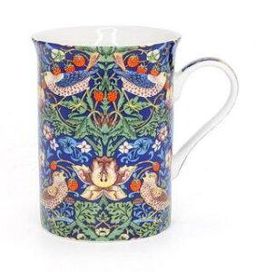 英国 テキスタイルデザイナー ウィリアムモリス マグカップ ストロベリーシーフ いちご泥棒 ブルー william morris 食器 おしゃれ 英国雑貨 アフタヌーンティー ギフト 父の日レターパックプラ