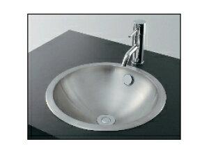 KAKUDAI カクダイ 鉄穴(かんな) 493-040 ステンレス丸型洗面器(ヘアライン) 【専用排水上部セット(キック棒操作タイプ)付き】