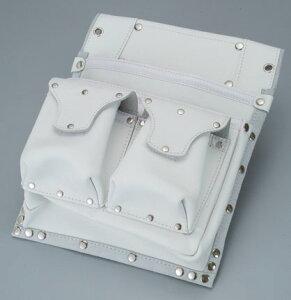 【伝統のKOZUCHI】コヅチ 鋲止仮枠釘袋2段マチ付Wポケット付 白 SH-523