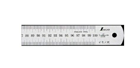 シンワ測定 イモノ尺 シルバー 30cm 25伸 15199【受注生産品】
