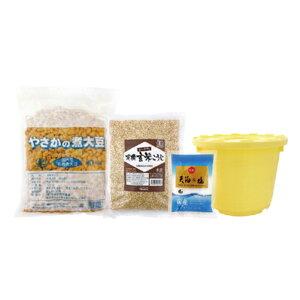 オーサワの手づくり玄米味噌セット(樽つき)/1セット(煮大豆・麹・塩)