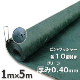 送料無料 ザバーン 防草シート136グリーン(1m×5m)とコ型ピン+ワッシャーが各10個ついたお買い得お試しセット