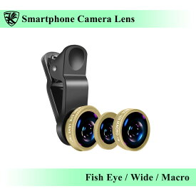 スマートフォン カメラレンズ クリップ式 ゴールド 魚眼レンズ・広角レンズ・マクロレンズ 自撮り・SNS写真に最適 iPhone・Android・タブレットなどのデバイスに 【AK-PH-018G】