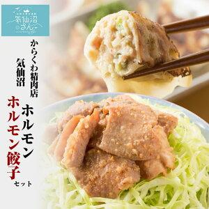 気仙沼ホルモン・餃子セット 【からくわ】 (ホルモン500g 餃子8個) 豚ホルモン 赤 白 モツ 焼き肉 鍋 レシピ 作り方 お取り寄せ キャッシュレス還元