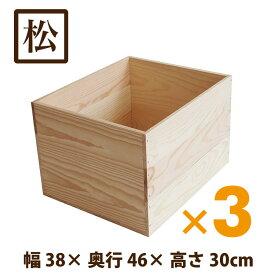 木箱 MA15KN【取手なし】3箱セット 国産赤松無垢材(パイン材) 無塗装 りんご箱 カンナ仕上げ