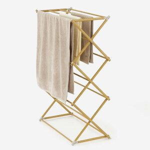 KEYUCA ケユカ AST ステンレス木目調タオル干し II[タオル干し 室内 木目 おしゃれ 物干し ステンレス 折り畳み コンパクト タオル用 洗濯物干し 置き型 オシャレ シンプル デザイン ステンレス