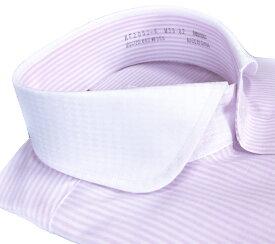 メンズ ワイシャツ 長袖 形態安定 シャツ ピンク ロンドンストライプ クレリック ラウンド ホリゾンタルワイドカラー ビジネス おしゃれ KF2052-6
