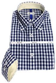 メンズ ワイシャツ 長袖 ギンガムチェック ボタンダウン シャツ ビジネス 形態安定 お洒落着 KF2045-4