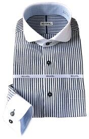 メンズ ワイシャツ 長袖 シャツ ブルーロンドンストライプ クレリック ラウンドカラー シャツ ビジネス 形態安定 おしゃれ KF2046-4