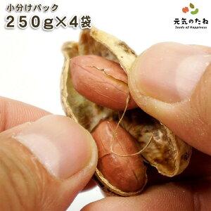 小分け 4×250g 国産ピーナッツ ナッツ 薄皮付きピーナッツ 国産 皮付きピーナッツ 送料無料