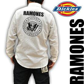ディッキーズ Dickies RAMONES ラモンズコラボモデル ボタンダウンシャツ 刺繍 141M20RM02 WHT メンズ