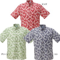 かりゆしウェアメンズ沖縄物語花柄パッチワーク柄ボタンダウン
