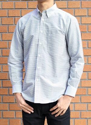メンズ 長袖布帛ボタンダウンシャツ・ボーダー柄 日本製 (父の日 プレゼント ギフト 贈り物 シニア 紳士 男性用 40代 50代 60代 70代)