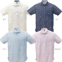 かりゆしウェアニットシャツメンズ琉球巡り柄ホリゾンタル
