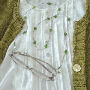 メガネチェーン おしゃれ かわいい ネックレスのようなプチハートコード グリーン GR 緑 ビーズ 北欧 ナチュラル グラスコード レディース 眼鏡 ギフト