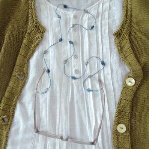 メガネチェーン レディース おしゃれ ビーズ かわいい ネックレスのようなプチハートコード ターコイズ ブルー TQ グラスコード ビーズ レディース 眼鏡 ギフト