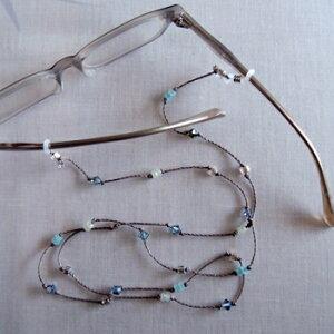 メガネチェーン ネックレス おしゃれなカットビーズコード ブルー BL 北欧 ビーズ グラスコード 眼鏡 ストラップ レディース