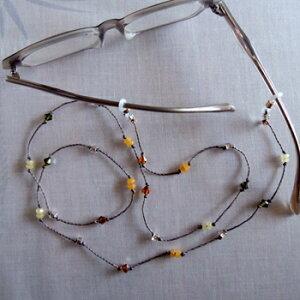 メガネチェーン ネックレス おしゃれなカットビーズコード オレンジ OR グラスコード 眼鏡 ストラップ レディース