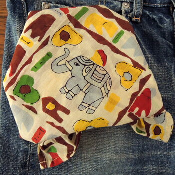 バンダナ インド綿 コットン アジアン エスニック おしゃれ かわいい 象柄 アニマル マルチエレファント ブラウン BR お弁当 包み ハンカチ スカーフ スタイ 綿100%