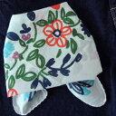 バンダナ 大判 インド綿 おしゃれ かわいい アジアン カントリー 北欧 花柄 柄 花刺繍プリント ステッチフラワー 白 ホワイト WH マルチカラー ハンカチ お弁当 包み スカーフ スタイ