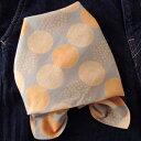 バンダナ 大判 水玉 北欧 おしゃれ かわいい カントリー ドット柄 プルーラルドット インド綿 オレンジ グレー OR 綿100% お弁当 包み スカーフ ハンカチ 55cm×55cm