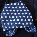 バンダナ 大判 水玉 北欧 おしゃれ かわいい カントリー ドット柄 ハンドブロックプリント フレームドット インド綿 ブルー ネイビー 青 紺 BL 綿100% お弁当 包み スカーフ ハンカチ 三