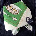 バンダナ 大判 ネイビー おしゃれ 北欧 カントリー 花と猫 かわいい キッチンキャット コットン インド綿 綿100% ブル…