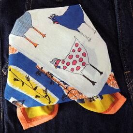 バンダナ 大判 ブルー おしゃれ 北欧 カントリー 花とにわとり 柄 かわいい フラワークック コットン インド綿 綿100% 紺 ネイビー 青 オレンジ BL 柄 お弁当 包み スカーフ ハンカチ スタイ お返し プチギフト 53cm×53cm
