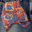 バンダナ 大判 ハンドブロックプリント カントリー 花柄・ フルブルーンフラワー インド綿 オレンジ スカーフ ハンカチ 55cm×55cm