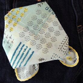 バンダナ 可愛い おしゃれ 北欧 カントリー 花柄 ブッシュフラワー コットン インド綿 綿100% 白 ブルー BL スカーフ ハンカチ スタイ 53cm×53cm