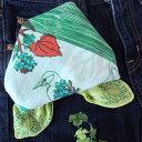 バンダナ 北欧 かわいい おしゃれ カントリー アニマル 花柄 フォレストアニマル コットン インド綿 綿100% グリーン GR お弁当 包み スカーフ ハンカチ スタイ 53cm×53cm