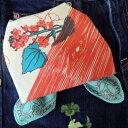 バンダナ 北欧 かわいい おしゃれ カントリー アニマル 花柄 フォレストアニマル コットン インド綿 綿100% レッド 赤 RE お弁当 包み スカーフ ハンカチ スタイ 53cm×53cm