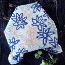 バンダナ 大判 北欧 お弁当 包み カントリー アジアン ヒュッゲ 花柄 フラワーリング インド綿 コットン100% アジアン ネイビー 紺 ブルー ピンク スカーフ ハンカチ ハンドブロックプリント