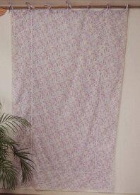 カーテン 間仕切り つっぱり おしゃれ カントリー 北欧 花柄ジャムフラワーエンブロイダリー レース 刺繍 インド綿100% コットン ラベンダー色 LA 幅110cm 丈180cm