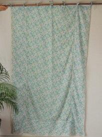 カーテン 間仕切り つっぱり おしゃれ 北欧 カントリー 花柄 ジャムフラワーエンブロイダリー レース刺繍 インド綿100% コットン 白 ブルー BL 幅110 丈180cm