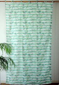 カーテン 北欧 カントリー 間仕切りカーテン おしゃれ 花柄 ボーダーフラワーフェンス つっぱり棒 綿100%・ コットン グリーン GR 丈180cm 幅110cm