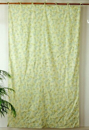 カーテン 間仕切り つっぱり おしゃれ 北欧 花柄 フラワープランツ カントリー コットン 綿100% イエロー YE 丈180cm 幅110cm