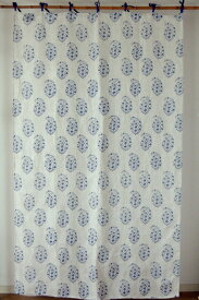 カーテン 間仕切り 北欧 ヒュッゲ おしゃれ 花柄 つっぱり カントリー 北欧 リネン アグレアブルフラワー ブロックプリント 麻100% ネイビー 紺 幅110cm 丈180cm