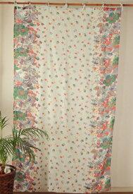 カーテン 間仕切り つっぱり おしゃれ 花柄 フラワーガーデン カントリー コットン 綿100% ブルー BL 丈180cm 幅110cm